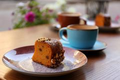 Plate with slice of carrot cake royalty free stock photos