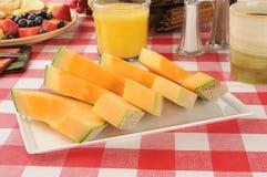 Sliced cantaloupe Stock Images