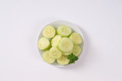 Plate of sliced cucumber Stock Photos
