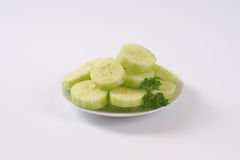 Plate of sliced cucumber Royalty Free Stock Photo