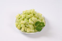 Plate of sliced cucumber Royalty Free Stock Photos