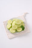 Plate of sliced cucumber Stock Photography