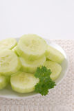 Plate of sliced cucumber Royalty Free Stock Images