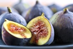 Plate of sliced figs Stock Photo