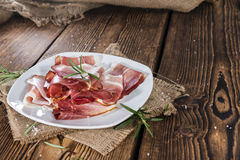 Plate with sliced Ham Royalty Free Stock Photos