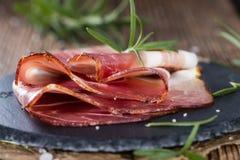 Plate with sliced Ham Stock Photos