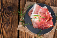 Plate with sliced Ham Stock Image