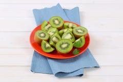 Plate of sliced kiwi Stock Image