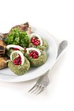 Plate with sliced onion aubergine  pomegranate. Dish with cold appetizer. See my other works in portfolio Stock Image