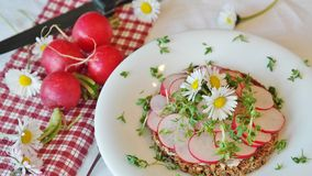 Plate of sliced radishes