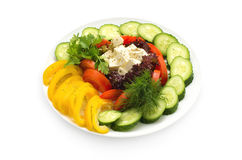 Plate with sliced vegetables Royalty Free Stock Image