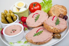 Plate with slices of bread with home made pate Stock Image
