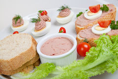 Plate with slices of bread with home made pate Stock Photos