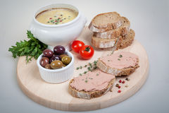 Plate with slices of bread with home made pate with vegetables Royalty Free Stock Photo