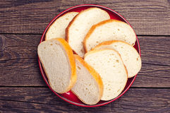 Plate with slices white bread Stock Photo