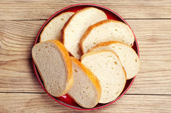 Plate with slices white bread Stock Images