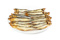 Plate with smoked Baltic sprat Stock Image