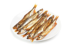 Plate with smoked capelin Stock Photo