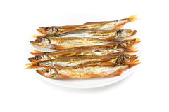 Plate with smoked capelin Stock Image