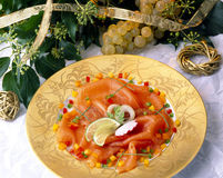Plate of smoked salmon Stock Photography