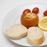 Plate of snacks. Plate of bread and fruit and vegetable snacks Stock Image