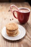 Plate of snickerdoodle cookies on weathered brown wood Royalty Free Stock Photo