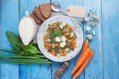 Plate with sorrel soup, bread and different vegetables. Top view royalty free stock photography