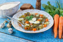 Plate with sorrel soup, bread and sour cream. Soft focus background Stock Photography
