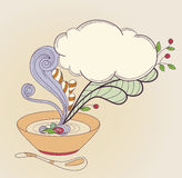 Plate  of a soup. Vector hand drawn plate  of a soup and cloud Stock Photos