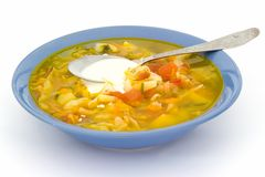 Plate with soup Stock Photography