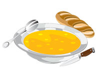 Plate with soup. And bread on white background is insulated Stock Photo
