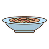 Plate soup dinner cooking. Vector illustration eps 10 Royalty Free Stock Photos