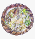 Plate of soup. Hand painted illustration Royalty Free Stock Photo