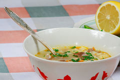 The plate with soup and lemon. The plate with soup and fresh lemon Royalty Free Stock Images