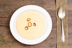 Plate with soup of parsnips Stock Image