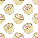 Plate of soup.  Seamless pattern with plates with. Soup. Hand-drawn original background. Real watercolor drawing Stock Image