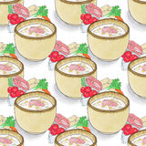 Plate of soup.  Seamless pattern with plates with. Soup and ingredients. Hand-drawn original background.  Real watercolor drawing Stock Image