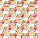 Plate of soup.  Seamless pattern with plates with. Soup and ingredients. Hand-drawn original background.  Real watercolor drawing Royalty Free Stock Images