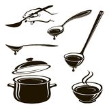 Plate of soup, spoon, ladle and pan. Monochrome collection of plate of soup, spoon, ladle and pan Royalty Free Stock Photo