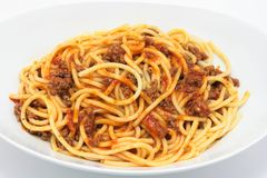 Plate of Spaghetti Bolognese Royalty Free Stock Images