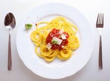 Plate Of Spaghetti Bolognese Stock Photo