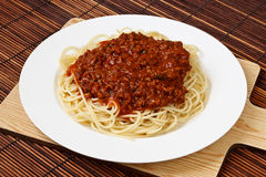 Plate of Spaghetti Bolognese. Spaghetti Bolognese Classic Italian food and a popular dinner dish around the world Royalty Free Stock Images