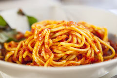 Plate of spaghetti bolognese with basil garnish Royalty Free Stock Photography