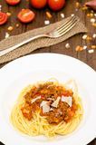 Plate with spaghetti bolognese Stock Images