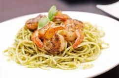 Plate of spaghetti broccoli pesto Royalty Free Stock Images