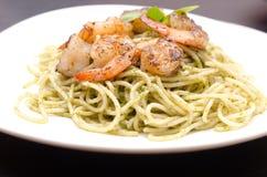 Plate of spaghetti broccoli pesto Royalty Free Stock Image