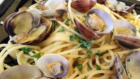 Plate of spaghetti with clams Stock Images