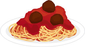 Plate of Spaghetti. A plate of spaghetti covered with tomato sauce and meatballs Royalty Free Stock Photography
