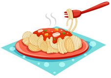 A plate of spaghetti with fork. Illustration of isolated a plate of spaghetti with fork on white Stock Photography