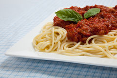 Plate of Spaghetti with meat sauce Stock Photography